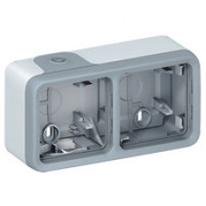 Plexo Серый Коробка 2-ая для наружного монтажа горизонтальная IP55 | 069672 | Legrand