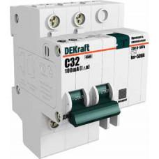 Выключатель автоматический дифференциальный ДИФ-101 2п 10А C 100мА тип AC (4 мод)   15010DEK   DEKraft