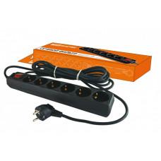 Сетевой фильтр СФ-06В выключатель, 6 гнезд, 3 метра, с заземлением, ПВС 3х1мм2 16А/250В   SQ1304-0012   TDM