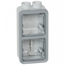 Plexo Серый Коробка 2-ая для наружного монтажа с 2 каб.вводами ISO20 вертикальная IP55 | 069668 | Legrand