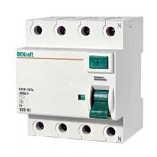Выключатель дифференциальный (УЗО) УЗО-03 4п 25А 30мА тип AC | 14078DEK | DEKraft