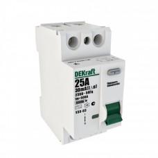 Выключатель дифференциальный (УЗО) УЗО-03 2п 25А 30мА тип AC | 14054DEK | DEKraft