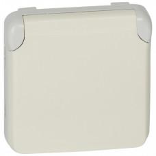 Plexo Белый Розетка с/з с крышкой безвинтовой зажим IP55 | 069640 | Legrand