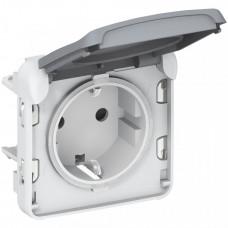 Plexo Серый Розетка с/з с крышкой винтовой зажим IP55 | 069571 | Legrand