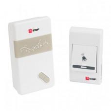 Звонок беспроводной на батарейках (бел.-сер. 36 мелод. с индик. 3х1,5В ААA дист. 80м.) EKF Basic | DBB-A-002 | EKF