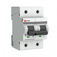 Выключатель автоматический двухполюсный ВА 47-125 100А D 15кА PROxima | mcb47125-2-100D | EKF