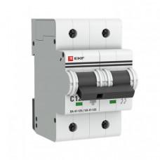 Выключатель автоматический двухполюсный ВА 47-125 80А C 15кА PROxima | mcb47125-2-80C | EKF