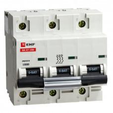 Автоматический выключатель ВА 47-100, 3P 16А (C) 10kA EKF mcb47100-3-16C EKF