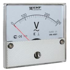 Вольтметр VM-A801аналоговый на панель 80х80 (круглый вырез) 300В прямое подключение EKF PROxima | vm-a801-300 | EKF