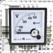 Вольтметр VM-A721аналоговый на панель 72х72 (квадратный вырез) 500В прямое подключение EKF PROxima | vm-a721-500 | EKF