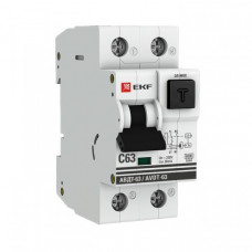 Выключатель автоматический дифференциальный АВДТ-63 1п+N 6А C 100мА тип A PROxima | DA63-6-100em | EKF