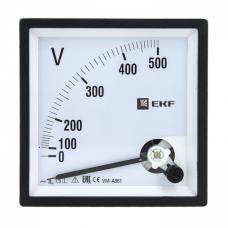 Вольтметр VM-A961аналоговый на панель 96х96 (квадратный вырез) 500В прямое подключение EKF PROxima | vm-a961-500 | EKF