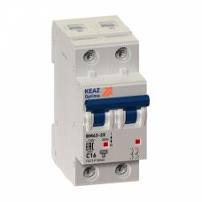 Выключатель автоматический двухполюсный (1п+N) OptiDin BM63 25А B 6кА (BM63-2NB25-УХЛ3) | 103617 | КЭАЗ
