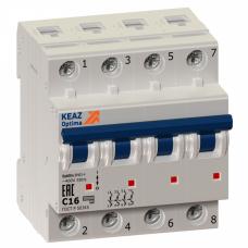 Выключатель автоматический четырехполюсный OptiDin BM63 4А D 6кА (BM63-4D4-УХЛ3)   103860   КЭАЗ