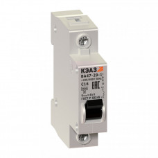 Выключатель автоматический однополюсный ВА47-29 50А C 4,5кА (ВА47-29-1C50-УХЛ3) | 141589 | КЭАЗ