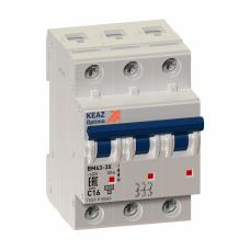 Выключатель автоматический трехполюсный OptiDin BM63 10А K 6кА (BM63-3K10-УХЛ3) | 103801 | КЭАЗ
