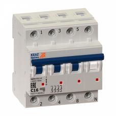 Выключатель автоматический четырехполюсный (3п+N) OptiDin BM63 10А D 6кА (BM63-4ND10-УХЛ3)   103822   КЭАЗ