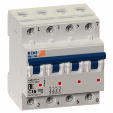 Выключатель автоматический четырехполюсный OptiDin BM63 10А K 6кА (BM63-4K10-УХЛ3) | 103870 | КЭАЗ