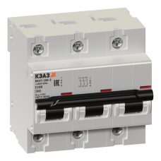 Выключатель автоматический трехполюсный ВА47-100 50А D 10кА (ВА47-100-3D50-УХЛ3) | 233061 | КЭАЗ