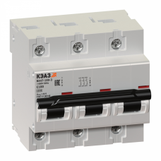 Выключатель автоматический трехполюсный ВА47-100 100А C 10кА (ВА47-100-3С100-УХЛ3) | 141630 | КЭАЗ