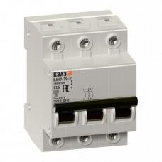 Выключатель автоматический трехполюсный ВА47-29 2А B 4,5кА (ВА47-29-3B2-УХЛ3) | 253075 | КЭАЗ