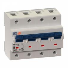 Выключатель автоматический четырехполюсный (3п+N) OptiDin BM125 100А C 10кА (BM125-4NC100-8ln-УХЛ3) | 138593 | КЭАЗ