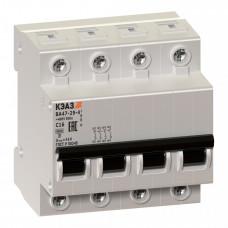 Выключатель автоматический четырехполюсный ВА47-29 6А B 4,5кА (ВА47-29-4B6-УХЛ3) | 253085 | КЭАЗ
