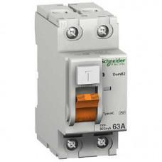 Выключатель дифференциальный (УЗО) ВД63 2п 63А 300мА тип AC | 11456 | Schneider Electric