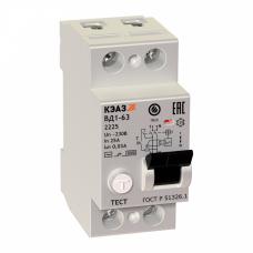 Выключатель дифференциальный (УЗО) ВД1-63-2225-АС-УХЛ4 2п 25А 30мА тип AC | 221903 | КЭАЗ