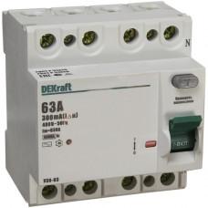 Выключатель дифференциальный (УЗО) УЗО-03 4п 63А 300мА тип AC | 14095DEK | DEKraft