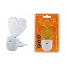 Ночник Сердце 0,3Вт светодиодный белый с датчиком света | SQ0357-0008 | TDM