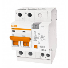 Выключатель автоматический дифференциальный АД12 2п 16А C 30мА тип AC (4 мод) | SQ0204-0006 | TDM