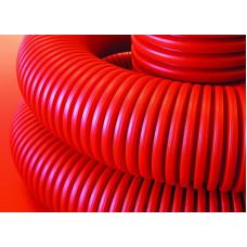 Труба двустенная гибкая ПНД для кабельной канализации 75мм с протяжкой с муфтой, SN10, в бухте 50м, красный | 121975 | DKC
