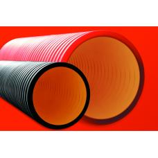 Труба двустенная жесткая ПНД для кабельной канализации 125мм, SN10, 5,70м, красный   16091257   DKC