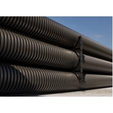 Труба двустенная жесткая ПНД для открытой прокладки 200мм без протяжки, SN6, ПВ-0, УФ, 6м, черный   170920   DKC