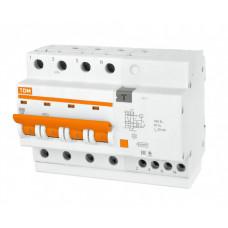 Выключатель автоматический дифференциальный АД-4 4п 63А C 30мА тип AC (7 мод) | SQ0221-0010 | TDM