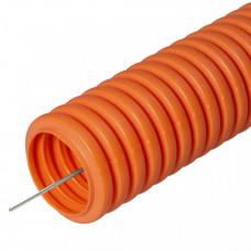 Труба гибкая гофрированная ПНД 16мм с протяжкой лёгкая безгалогенная (HF) (100м) оранжевый | 21661 | Промрукав