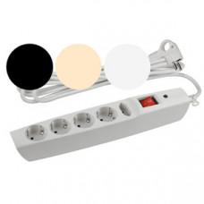 Сетевой фильтр SFX-5es-2mIBW МИКС (бел,черн,беж) с заземл, 3x1мм2, со шт, с выкл, 5гн, 2м (20)  Б0005079   ЭРА