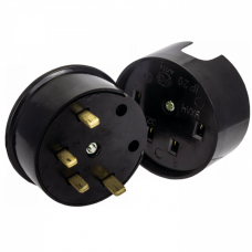 Разъем РШ-ВШ 32А 380В 3P+PE (ОУ) карболитовый черный EKF PROxima   AS-380-O-04   EKF