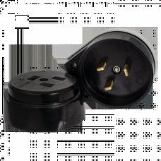 Разъем РШ-ВШ 32А 250В 2P+PE (ОУ) карболитовый черный EKF PROxima   AS-250-O-03   EKF