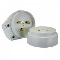 Разъем РШ-ВШ 32А 250В 2P+PE (ОУ) пластиковый бел. EKF PROxima   AS-250-O-01   EKF