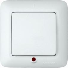 ПРИМА С/У Белый Выключатель 1-клавишный с подсветкой 10А (в сборе) (опт.упак.) | VS1U-115-B | Schneider Electric