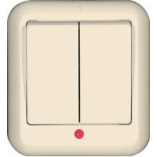 ПРИМА О/У Сл. кость Выключатель 2-клавишный с подсветкой 10А, монтажная пластина (в сборе)(опт.упак.)   VA5U-213M-S   Schneider Electric