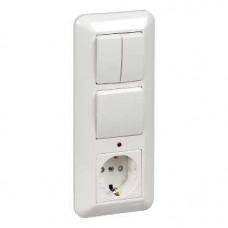 ПРИМА С/У Белый Блок: Розетка с/з с защитными шторками +Выключатель 1-кл.+Выключатель 1-кл. с подсветкой 193x81x55 мм (в сборе)(опт.упак.) | BK2VR-005