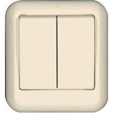 ПРИМА О/У Сл. кость Выключатель 2-клавишный 10А, монтажная пластина (в сборе)(опт.упак.)   VA5U-214M-S   Schneider Electric