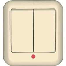 ПРИМА О/У Сл. кость Выключатель 2-клавишный с подсветкой 10А (в сборе) (опт.упак.)   VA5U-213-S   Schneider Electric