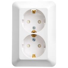 ПРИМА С/У Белый Розетка 2-ая с/з с защитными шторками 16А (в сборе) (индивид.упак.) | RS16-212-BI | Schneider Electric