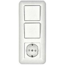 ПРИМА С/У Белый Крышка Блока Розетка с/з +Выключатель 1-кл.+Выключатель 1-кл. (опт.упак.) | BK2VR-008VK-B | Schneider Electric