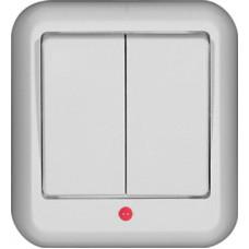 ПРИМА О/У Белый Выключатель 2-клавишный с подсветкой 6А, с изолир. пластиной (в сборе) (опт.упак.)   A56-007I-B   Schneider Electric