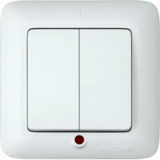 ПРИМА С/У Белый Выключатель 2-клавишный с подсветкой 10А (в сборе) (опт.упак.) | VS5U-217-B | Schneider Electric